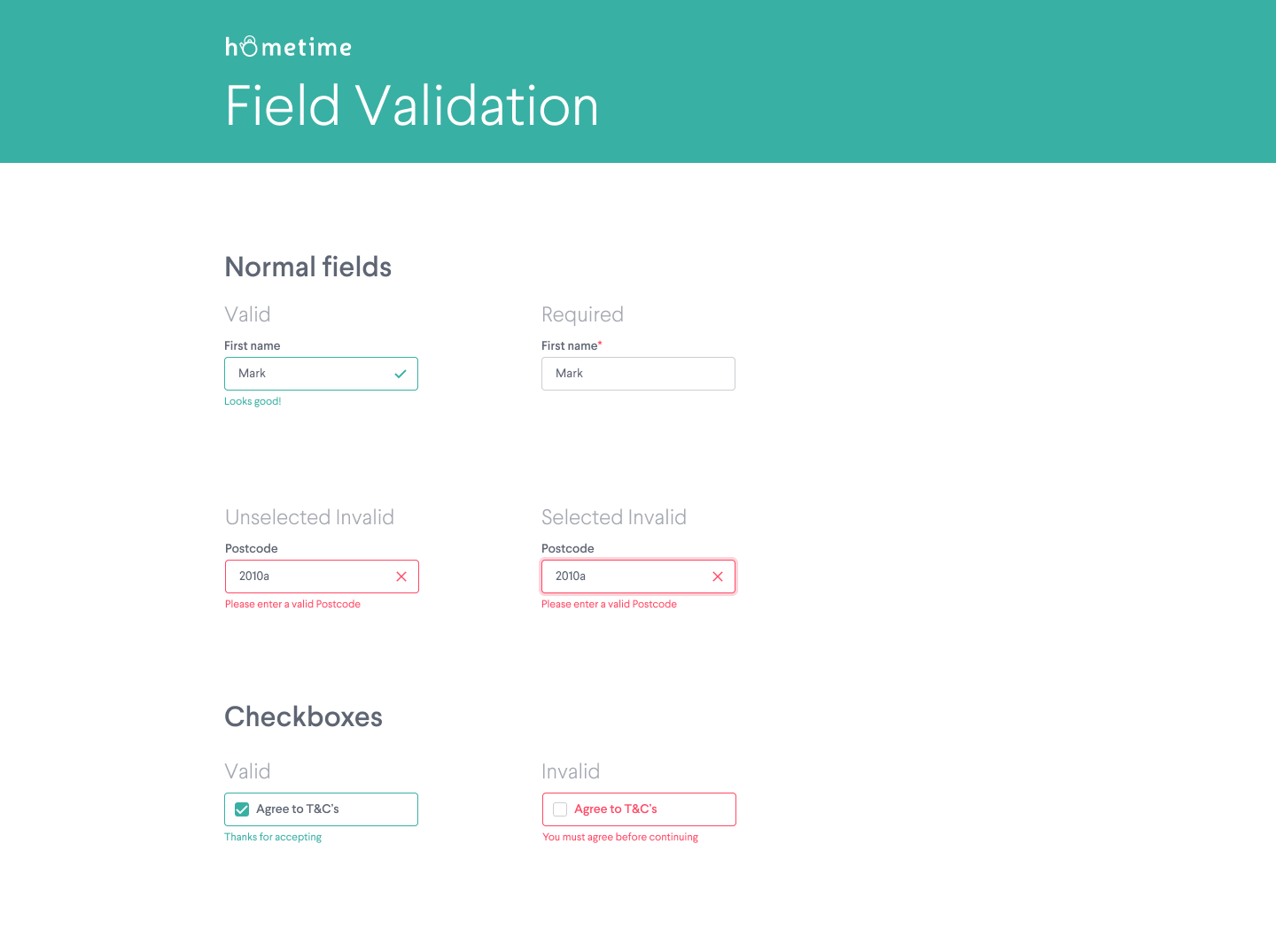 Pattern Library – Field Validation